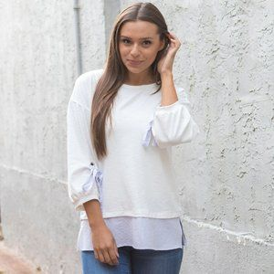 White Long Sleeve Tee with Blue Details